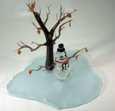 Glass snowman and tree