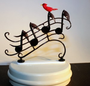 Music snow-globe piece