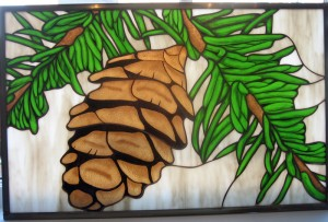 Painted pinecone panel