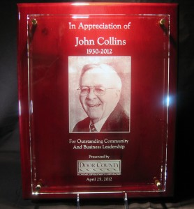 Glass memorial award plaque