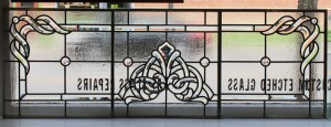 set of beveled glass panels